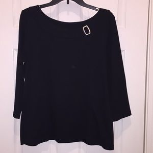Kim Rogers black blouse with silver buckle accents